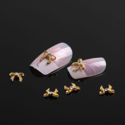 350buy 10x 3D Nail Art Gold Alloy Rhinestones Bow Tie Glitters Sticker DIY Decoration