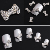 Yesurprise Silver Rhinestones Bow Tie 10 pieces Silver 3D Alloy Nail Art Slices Glitters DIY Decorations