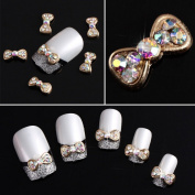 Yesurprise Rhinestones Gold Bow Tie 10 pieces Silver 3D Alloy Nail Art Slices Glitters DIY Decorations