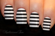 Black Stripe Nail Wraps Art Water Transfer Decals 12pcs