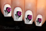 Flower Hat Skull Nail Wrap Art Decal Water Transfer 16pcs