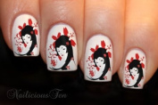 Japanese Geisha Nail Wraps Art Water Transfer Decal 12pcs