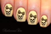 Skull with Leopard Bow Nail Wrap Art Water Transfer Decals 16pcs