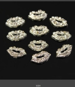 350buy 10pcs Fashion 3D Silver Alloy Lip Rhinestones For Nail Art Tips DIY Decoration
