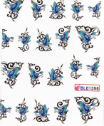 GGSELL Latest hot selling Deco Nail decals blue butterflies water transfer decals nail hydroplaning nail stickers for girls