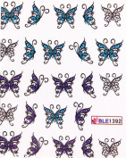 GGSELL Latest hot selling Deco Nail decals water transfer decals nail hydroplaning blue and purple butterflies nail stickers for girls