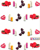 GGSELL Latest hot selling Deco Nail decals water transfer decals nail hydroplaning chocolate candle and heart nail stickers for girls