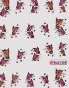 GGSELL Latest hot selling Deco Nail decals water transfer decals nail hydroplaning colourful flying butterflies nail stickers for girls