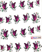 GGSELL Latest hot selling Deco Nail decals water transfer decals nail hydroplaning Fuchsia butterflies nail stickers for girls