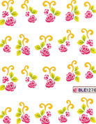 GGSELL Latest hot selling Deco pink roses Nail decals water transfer decals nail hydroplaning nail stickers for girls