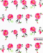 GGSELL Latest new design Deco Nail decals water transfer decals nail hydroplaning nail stickers red flowers for women