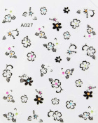 2012 hot selling black and white flowers stereoscopic 3D nail art nail decals nail stickers
