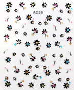 2012 latest design black and white flower stereoscopic 3D nail art nail decals nail stickers