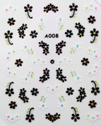 Black and white flowers stereoscopic 3D nail art nail decals nail stickers