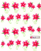 Deco Nail art water transfer decals hydroplaning nail stickers red five leaf flower