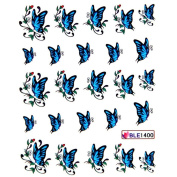 Deco Nail decals water transfer decals nail the hydroplaning nail stickers blue butterfly