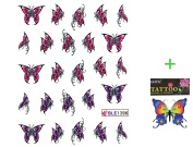 Deco Nail decals water transfer hydroplaning nail stickers red and purple butterfly
