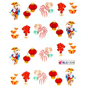 Deco Nail decals water transfer nail decals hydroplaning nail stickers Spring Festival lanterns firecrackers rabbit