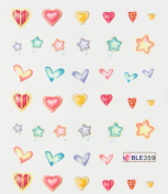 Deco Nail decals water transfer nail decals the hydroplaning nail stickers heart and star