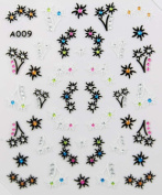 Fashion desgin black and white flowers stereoscopic 3D nail art nail decals nail stickers