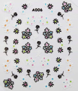 Fashion design black and white flowers stereoscopic 3D nail art nail decals nail stickers