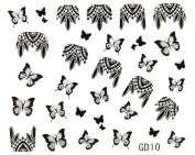 Hot selling 3D nail art nail stickers nail decals glitter black butterflies