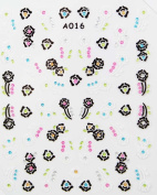 Hot selling black and white flower stereoscopic 3D nail art nail decals nail stickers