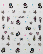 Hot selling black and white flowers stereoscopic 3D nail art nail decals nail stickers