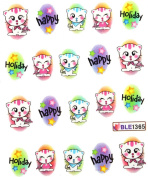 Miao Yun Kitty happy holiday water transfer decals nail