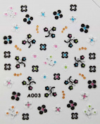 Stereoscopic 3D nail art nail decals nail stickers black and white flowers