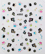 Stereoscopic 3D nail art nail decals nail stickers flowers and music symbols