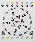 Stereoscopic black and colourful flowers 3D nail art nail decals nail stickers