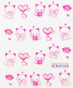Yao Shun Fashion design water transfer decals nail hydroplaning nail decals cute cartoon hearts and lips
