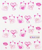 Yao Shun Fashion design water transfer decals nail hydroplaning nail decals cute cartoon hearts and lips