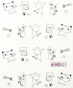 Miao Yun cartoon design lovely cat nail decals water transfer decals nail hydroplaning nail stickers