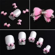 10pcs Pink 3D Alloy Rhinestones Nail/Phone Art Bow Tie DIY Decoration Etopsell
