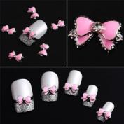 10pcs Pink 3D Alloy Rhinestones Nail/Phone Art Bow Tie DIY Decoration Etopsell