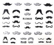 Movember Moustache Black & Silver Glitter Nail Sticker