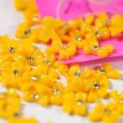 New Arrival 100pcs/pack Yellow Resin Bow Tie Nail Art Decoration