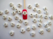 Nail Art 3d 40 Pieces White Rose/Rhinestone for Nails, Cellphones 1cm
