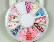 12 Colours flowers and fruits Designs Nail Art Polymer Decal Slices in Wheel
