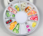 12 Colours fruits Designs Nail Art Polymer Decal Slices in Wheel
