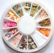 GGSELL X.T 12 Colours clay tablets chocolate cake food Designs Nail Art Polymer Decal Slices in Wheel