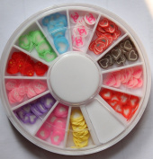 GGSELL X.T 12 Colours clay tablets heart-shaped Designs Nail Art Polymer Decal Slices in Wheel