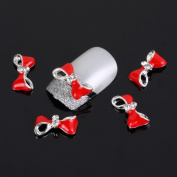 Yesurprise Silver Red Bow Tie 10 pieces Silver 3D Alloy Nail Art Slices Glitters DIY Decorations