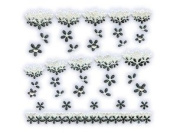 Black & White Floral Lace w/ Rhinestone French Tip Nail Stickers/Decals