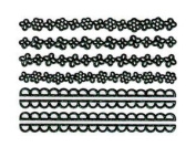Iridescent Glitter Black Floral Scalloped Lace Strip Nail Stickers/Decals