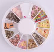 Nails Gaga 2 Wheel 3d Nail Art Tips/ Fimo Slice/Glitters Rhinestones Beads Wheel / Nails sticker / Fimo case