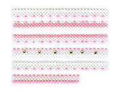 Pink & White Dot Lace Trim w/ Rhinestone Strip Nail Stickers/Decals