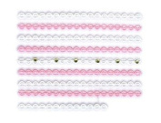 Pink & White Scalloped Lace Trim w/ Rhinestone Strip Nail Stickers/Decals